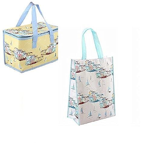 Gossip Girl - Lovely Foil Insulated Lunch Bag - Retro / Flowers / Butterfly / Boat + Reusable Shopper (Sail