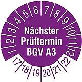 TE-Office 500 Stück Prüfsiegel Prüfplakette 17-22 BGV A 3 violett Rolle 1-bahnig 30 mm Durchmesser laminiert abriebfest