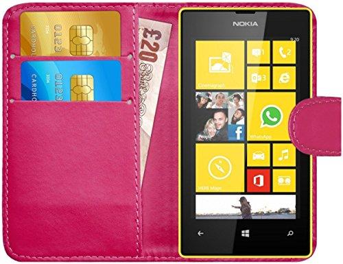 G-Shield Cover per Nokia Lumia 520, Custodia Protettiva Portafoglio Flip Case in Pelle con Porta Carta di Chiusura, Chiusura Magnetica, Rosa