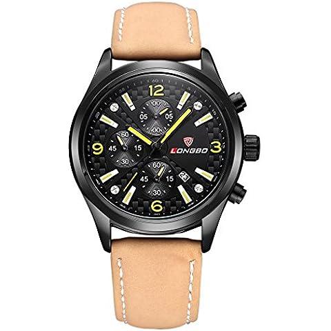 LONGBO classica in pelle Sport Mens Orologio analogico al quarzo orologi da polso bussiness militare quadrante giallo Speed Racer 80200