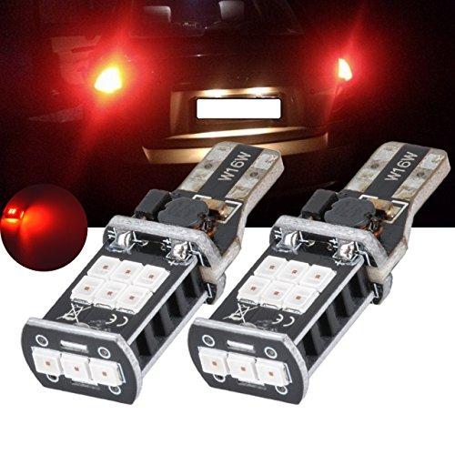 TUINCYN T15 sauvegarde inversée ampoules LED Blanc de remplacement Rouge 912 CANBUS erreur gratuit 2835 15smd Super Bright de voiture sauvegarde de remplacement 7 W DC 12 V (lot de 2)