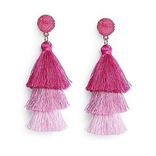 Ohrringe Ohrhänger Quaste Fransen Ohrringe Große Lange Bohemian Ohrstecker für Frauen Damen Mädchen (Pink Ombre) - 8-unzen-natürliche