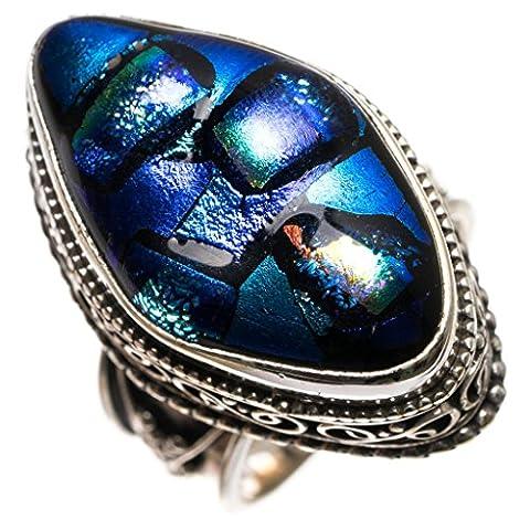 StarGems(tm) Natural Fancy Dichroic Glass Antique Design Handmade Vintage 925 Sterling Silver Ring, UK Size N