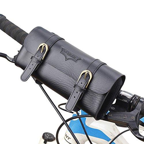 SunBeter Fahrrad Hecktasche Retro PU Leder Radfahren Lenker Sattel Tasche Vintage Bike Zylinder Werkzeugtasche (Retro-tasche)
