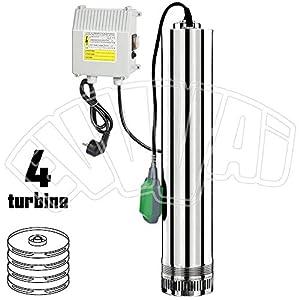 Ribimex 07366 – Bomba eléctrica sumergible de acero inoxidable, 750 W, 4 turbinas