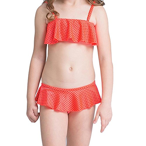 NACHEN Kinder Mädchen Blumen Drucke Bademode Mode niedlichen Prinzessin Lace Flounce Bikini Rock Split Badeanzug , red , 36