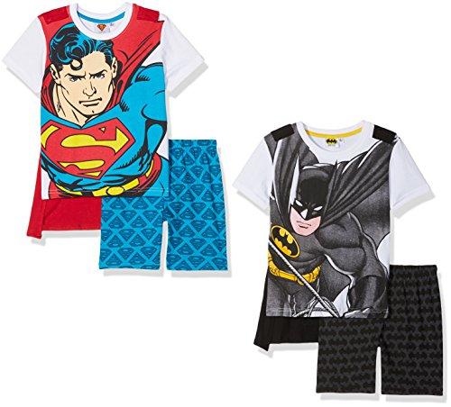 Superman Batman Kinder Schlafanzug mit Cape im 2er Pack, 2er Pack, Gr. 116 (6/116), Mehrfarbig (Mehrfarbig)