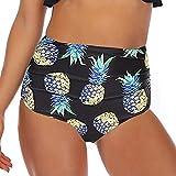 Vertvie Bas de Maillot de Bain Femme Plié Taille Haute Culotte Tanga Thong Panty Bikini Slip de Bain Brésilien Vintage Bikini Sexy Amincissant