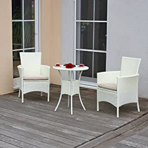 salon de jardin m19 table ronde 2 fauteuils poly rotin blanc jardin. Black Bedroom Furniture Sets. Home Design Ideas