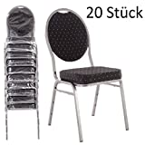 MACOShopde by MACO Möbel Bankettstühle 20er Set schwarz – Stapelstühle Konferenzstühle Saalstühle für Gastronomie und Gewerbe - stapelbar und Sehr stabil