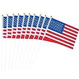 50 Stück USA Stick Flag Hand Mini Flagge Kleine Amerikanische US Fahnen Lebendige Farbe und Verblassen Beständig für Party Dekorationen Paraden