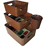 Mithhi Brown Basket Without Lid Set Of 3 (Small, Medium & Big) With 1 Cutlery Stand Brown
