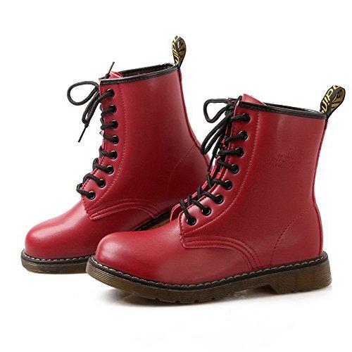 AgooLar Damen Rund Zehe Niedriger Absatz Blend-Materialien Niedrig-Spitze Rein Stiefel Rot