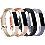 4Pcs Fitbit Alta HR Bands/Fitbit Alta HR Bands For Women And Men, Smooth TPU Classic Accessory Band Wristband For Fitbit Alta/Fitbit Alta HR, Small, Gold+Rose Gold+Gray+Black