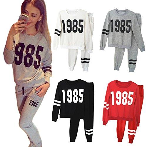 Cravog Femmes Mode Sportswear Survêtement Lettres Imprime Hoodie pull Et Pantalon - Casual Sexy Sport Deux Pièces Ensemble Gris