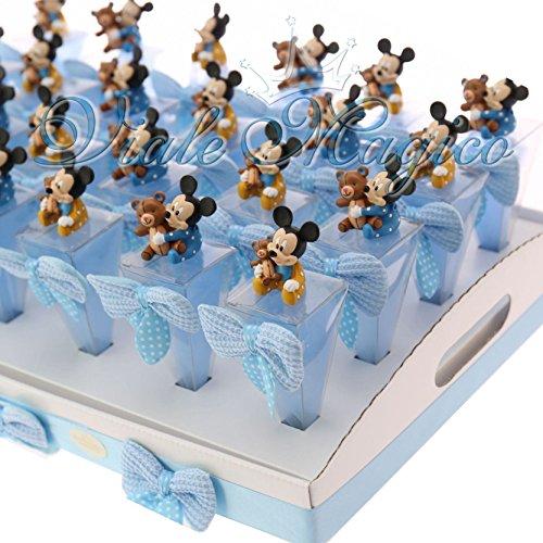 Bomboniere-Topolino-Disney-Nascita-Battesimo-Primo-Compleanno-Bimbo-24-Coni-con-Vassoio