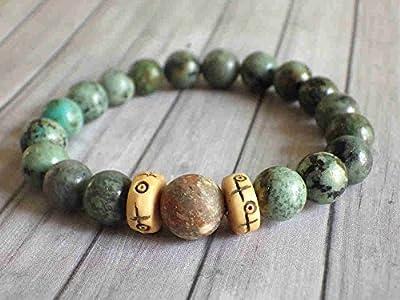 Bracelet pour hommes Africa Dream en turquoise naturelle, unakite naturelle et os gravés