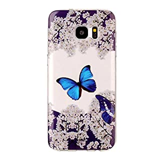 Samsung S7 Edge TPU Transparent Phone Case,Asnlove Protection Back Cover Crystal Clear Soft Silicone Painted Shell Anti Slip Scratch Resistant(Blue Butterfly) (NOT for Galaxy S7)