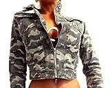 Damen Biker Jacke Military Army Style bauchfrei kurz Camouflage Muster Grüntöne Tarnfarben mit Stehkragen, Größe:XL