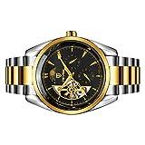 Segolike Luxury Men's Automatic Mechanical Moon Phrase Stainless Steel Wristwatch Waterproof - gold