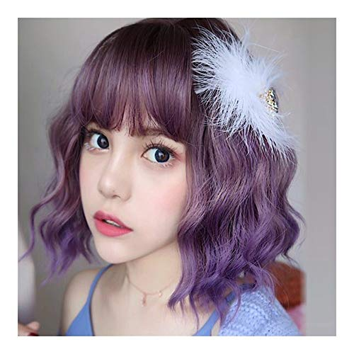 Perücke Kurzes Haar Weibliche Lila Lolita Color Gradient kurzes, krauses Haar Fluffy eikopf Blase Kopf (Mor'du Kostüm)