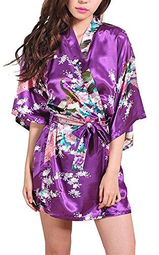 Hammia Mujer Vestido Kimono Corto Pijama Bata Satén Estampado Flores Ropa de Dormir 3/4 Manga con Cinturón...