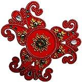 Buy Beautiful Peacock Designed Acrylic Red Rangoli Kolam Decorated With Multi Coloured Stones - 4 Pieces Set