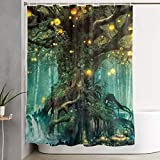 IconSymbol Lanterns and Waterfalls Under Fantasy Large Tree Bohemian, Mildew Resistant Waterproof Fabric Bathroom Decor Shower Curtain 60x72inch Waterproof Fabric Bathroom Accessories