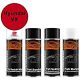 TRISTARcolor Autolack Spraydosen Set für Kunststoff Stoßstange Hyundai VX Samba Red/Rally Red Haftgrund Grundlack Basislack Klarlack mit Weichmacher Sprühdose