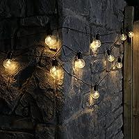 Guirlande Lumineuse Guinguette 10 Ampoules Opaques à LED Éclairage Blanc Chaud sur Câble Noir Intérieur Extérieur Waterproof (à Piles) 4,50 Mètres