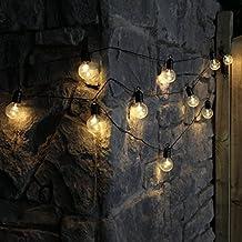 Guirnalda festiva para interior y exterior con 10 bombillas transparentes led de iluminación blanca cálida,