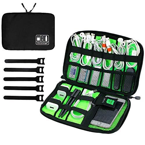 Mimoo universal accessori elettronici borsa da viaggio, organizzatore di cavi con fascetta e manico, custodia per cavi per cavo di ricarica, telefono cellulare, mini tablet, nero