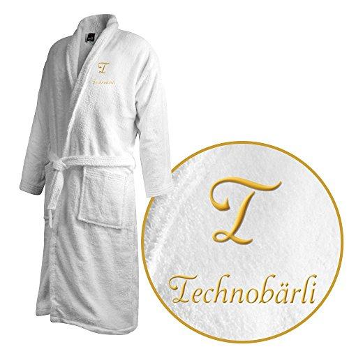 Bademantel mit Namen Technobärli bestickt - Initialien und Name als Monogramm-Stick - Größe wählen White