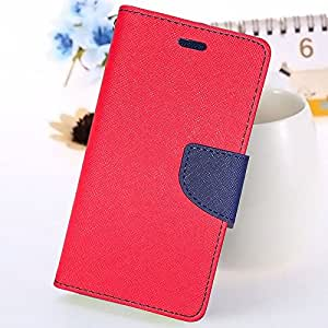 Mercury View Flip Cover (Red Blue) With Free Tempered Glass For Motorola E2