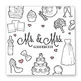 Cupcakes & Kisses® Gästebuch zur Hochzeit MR & MRS zum ausfüllen I neutral und individuell I Fotobuch: weiß I 144 Blanko Seiten I Quadratisch I Deko