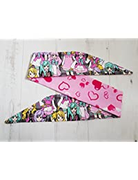 50s Reversible I Heart Anime Head Scarf With Wire or Not - Vtg Hair Tie J Pop K Pop Manga Otaku
