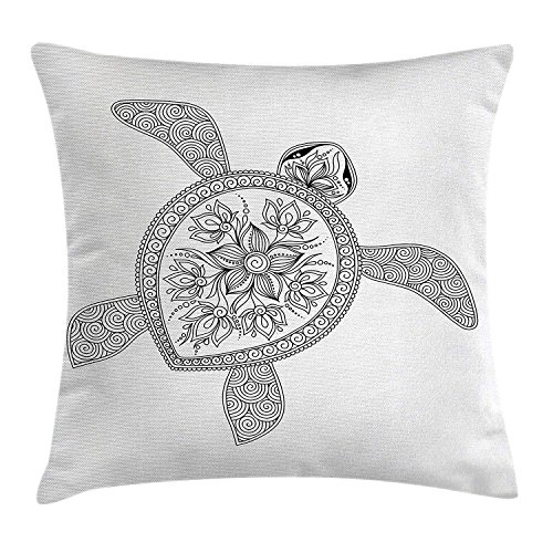 Silver Fox Henna (ZTLKFL Turtle Throw Pillow Cushion Cover, Artistic Turtle Figure Henna Mehndi Tattoo Style Doodles Floral Ornaments Asian, Decorative Square Accent Pillow Case, 18 X 18 inches, Black and White)