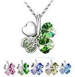 TR.OD Peach Heart Four Leaf Lucky Luck Clover Pendant Necklace Rhinestone Crystal Inlayed Jewelry