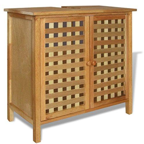 Festnight- mobile sottolavello legno massello di noce/scaffale da bagno 66x29x61 cm