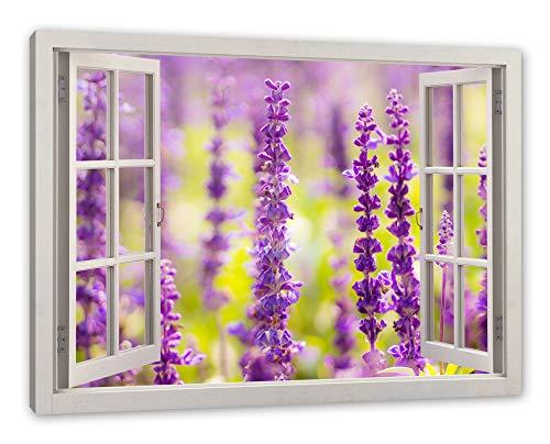 Pixxprint schöne Violette Lavendelblüten, Fenster Leinwandbild |Größe: 80x60 cm | Wandbild | Kunstdruck -