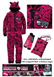 Monster High Onesie Girls Sleepover Kit - Set includes a hooded onesie / all-in-one pyjamas * a matching non-slip slipper socks and a tote bag * New with labels * Licensed merchandise (5-6 years)