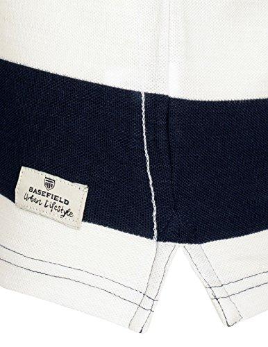 Basefield Herren Poloshirt California mit Streifen - Light Aqua (219011688) 100 WEISS