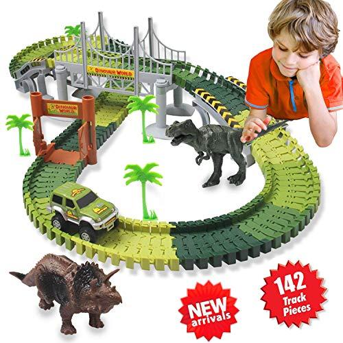 ACTRINIC Auto Rennstrecken-Sets Dinosaurier Spielzeug,mit 142 Stück Flexible Strecken 2 Dinosaurier,1 Militärfahrzeuge,4 Bäume,2 Pisten,1 Doppeltür und 1 Hängebrücke autorennbahn für Kinder - Spielzeug-rennstrecke