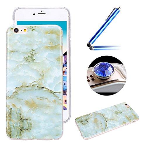 Etsue Glitzer Silikon Schutz HandyHülle für iPhone 6S/iPhone 6 Spiegel TPU Hülle, Mirror Effect Luxus Kristall Glitzer Glanz Sparkles Bling Diamant Silikon Handytasche iPhone 6S/iPhone 6 Ultradünnen K Marmor,Grün