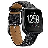 Prevently Uhrenarmbänder Leder Uhrenarmband Echtes Smart Watch Armband Krokodilleder Lederband Luxus Lederband Ersatz Zubehör Armband Straps für Fitbit Versa (Schwarz)