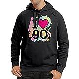 Sweatshirt à capuche manches longues I Love 90's! - retro style clothing (Small Noir Multicolore)