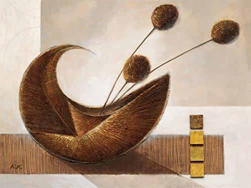 Eurographics Leinwandbild, Trough My Mind, Stillleben, Vase mit Blumen, abstraktes Gemälde, braun, 60 x 80 cm