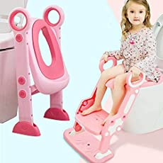 Potty Toilet Training Seat with Non-Slip Step Stool Ladder Toddlers,Kids and Baby,Potty Seat with Step,Toilet Seat Chair with Gift Package(Pink)