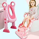 #4: Potty Toilet Training Seat with Non-Slip Step Stool Ladder Toddlers,Kids and Baby,Potty Seat with Step,Toilet Seat Chair with Gift Package(Pink)