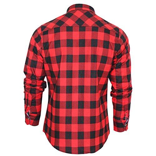 Herren Brave Soul JackD Kariertes Hemd Neu Designer Chambray Detail Baumwolltop Rot - Rot / Schwarz